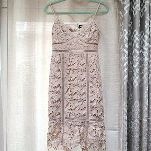 Light Pink Floral Lace Spaghetti Strap Midi Dress